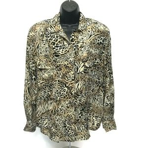 JH Collectibles Animal Print 100% Silk Blouse 12